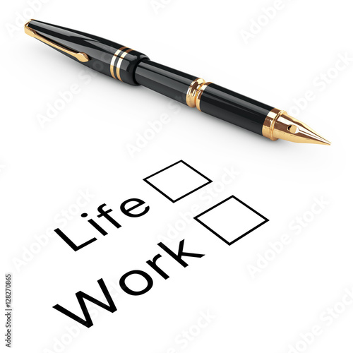 Poster Survey Concept. Life or Work Checklist with Golden Fountain Writ
