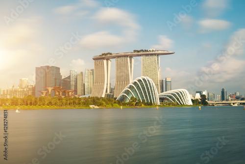 Obraz na plátne Singapore skyscraper building at Marina Bay in morning, Singapor