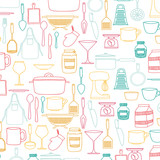silhouette colorful set of kitchen utensils vector illustration