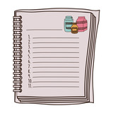 colorful opened recipe book with spiral vector illustration - 128279459