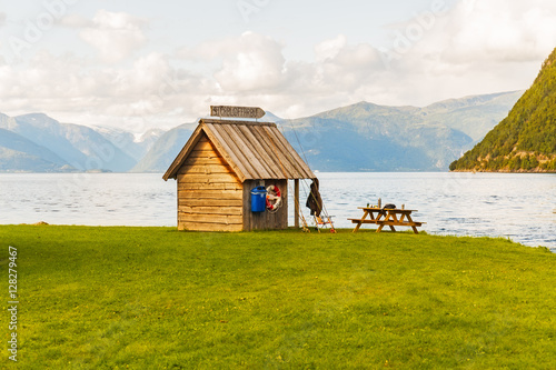 Poster Fisherman cabin at the Sognefjord in ther afternoon,  Norway