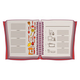 colorful opened recipe book with spiral vector illustration - 128279678