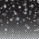 Isolated Falling snow on a transparent background. Falling snowflake Christmas Shining beautiful snow Snowflakes, snowfall. Vector illustration