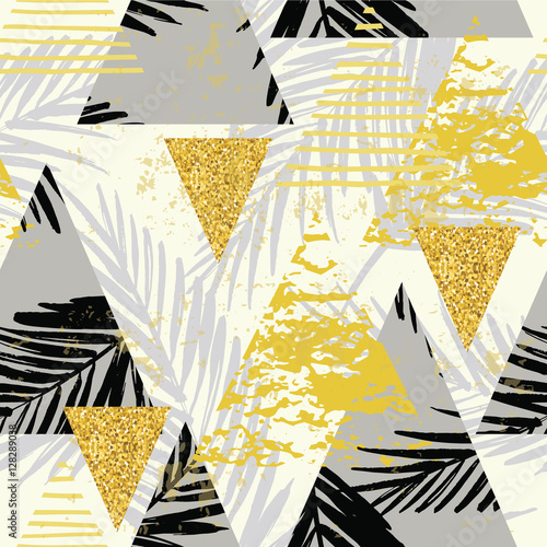 Seamless exotic pattern with palm leaves on geometric background - 128289038