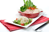PHO, Vietnamese noodle set, lay on red napkin white strips