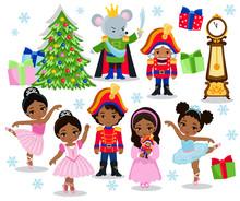 Set Cartoon Christmas Characters For Fairy Tale Nutcracker  Illustration    Sticker