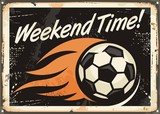 Retro tin sign design with soccer ball and flame trails