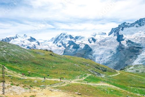 Poster Breithorn Liskamm at Zermatt Switzerland in Summer season