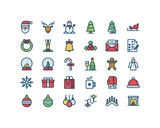 Christmas and New Year filled outline icon set