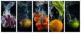 Fruits and vegetables falling into the water with splashes and bubbles. Collage of photos.