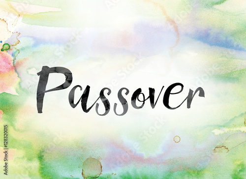 Plakát Passover Colorful Watercolor and Ink Word Art