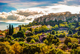 View on Acropolis from ancient agora, Athens, Greece. Beautiful landscape photography at dawn with ruins of classical greek architecture. - 128327660