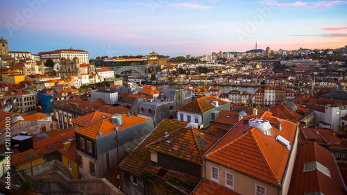 Foto op Plexiglas Japan Panoramic view of the old Porto at dusk, Portugal.