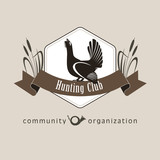 Hunting club, a social organization. Capercaillie, the symbol of the hunting club. The hunting club logo emblem