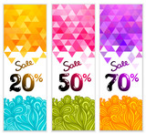 Triangle Sale banners with doodles