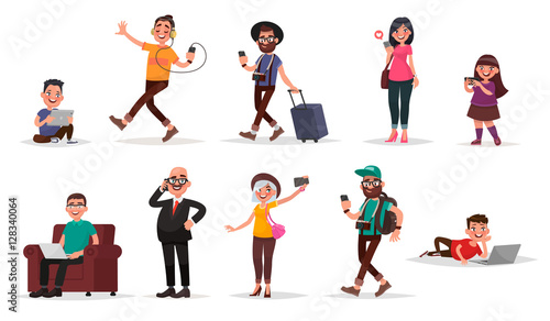 people and gadgets set of children youth and adults with their