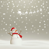 Vector Illustration of a Christmas Holiday Design with Flying Santa Claus and Snowman