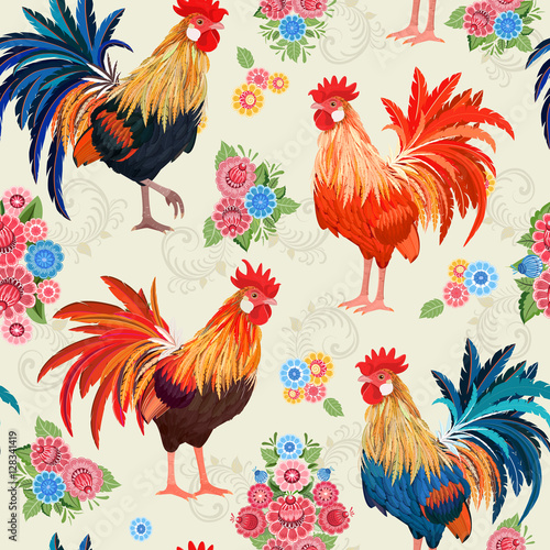 Cotton fabric vintage seamless texture with colorful lovely cockerels and flow