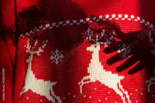 Poster Cute red christmas jumper with white norwegian pattern of snowflakes and deers with shadow of hand holding branch of fir-tree