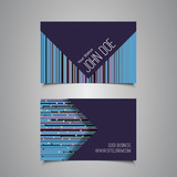 Business Card Template with Abstract Striped Background
