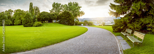 Panorama of a beautiful city park - 128344033