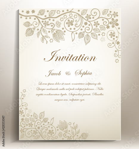 Floral hand-draw wedding invitation. a beautiful hand drawn wedding invitation ,suitable also for congratulation,greeting cards