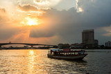 Viewpoint Chao Phraya River sunset background at Asiatique The R