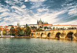 View on the Prague, Charles bridge and the Vltava river, Czech Republic