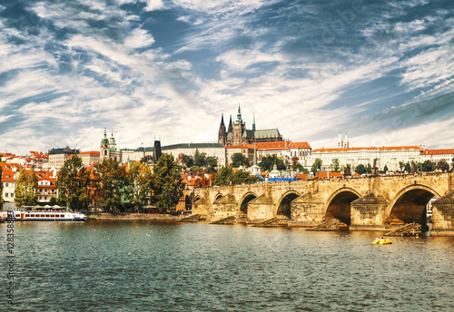 Poster View on the Prague, Charles bridge and the Vltava river, Czech Republic