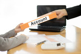 Businesswoman sends the account document to the businessman. sel