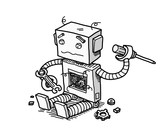 Broken Robot Fix Technology A Hand Drawn  Cartoon  A Broken Robot Trying To Fix Itself Wall Sticker