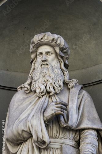 Leonardo da Vinci statue in Florence Poster