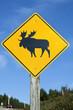 Moose crossing sign. Cape Breton, Nova Scotia, Canada. Vertical.