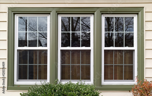 Foto Murales New white with green trim vinyl replacement windows. Horizontal.