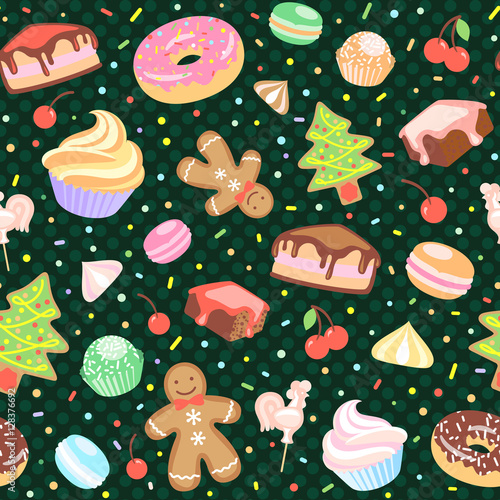 Materiał do szycia Dessert seamless vector pattern with Christmas elements.
