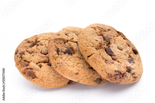 Poster Chocolate chip cookies isolated on white background.