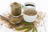 hemp seeds, aiol and flour - 128383468
