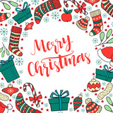 Merry Christmas greeting card with hand drawn lettering and wint