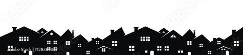 Cityscape, vector background, black silhouette - 128384067