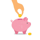 Hand down a coin in  piggy Bank. Vector illustration
