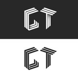 Initials monogram letters GT logo isometric construction. black and white 3d typography design element, group G T hipster emblem