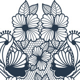 blue abstract pattern with butterflies and flowers vector illustration