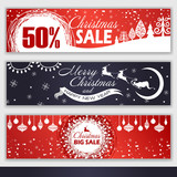 set of Christmas banners for sale. vector illustration. Merry Christmas card.