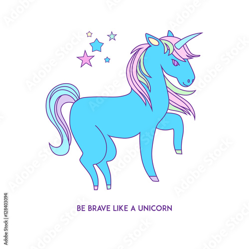 Foto op Aluminium Retro sign Unicorn icon character 01