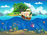 Fototapety Undersea world with island and sailing ship