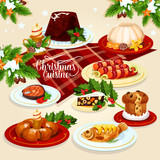 Christmas food icon with meat, fish, pastry dishes