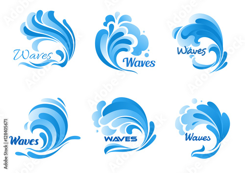 Water waves and splashes vector icons
