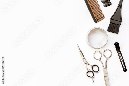 Fototapeta hairdresser tools on white background top view