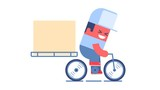 Delivery service. Cartoon courier riding a bicycle with big box on it. Looped animation. PNG+Alpha.