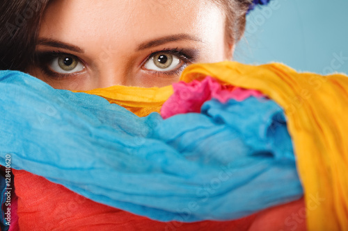 Plakát, Obraz woman makeup on eyes hiden her face with shawl